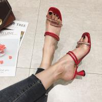 2019新款百搭韩版水钻透明一鞋两穿拖鞋外穿细跟高跟凉鞋女仙女风夏季百搭鞋