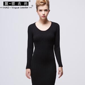 竖条纹针织裙长裙兔绒圆领修身高腰紧身套头毛衣裙纯色包臀打底裙