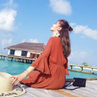 连衣裙女高腰2017夏季新款韩版显瘦V领喇叭袖裙子女装夏装潮