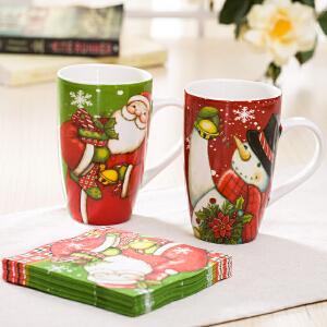 爱屋格林 圣诞马克杯套装陶瓷杯礼盒水杯情侣对杯+纸巾套装杯子