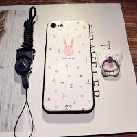 可爱卡通苹果7plus手机壳iphone8X硅胶6splus带挂绳全包边新款女