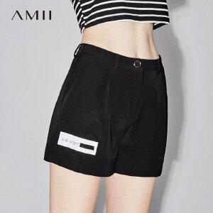 AMII2018夏时尚活力拼接撞色织带休闲短裤女11733041.