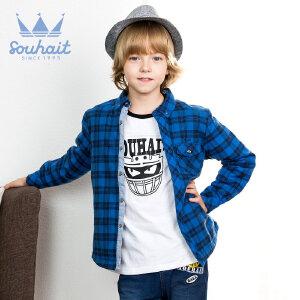 【双十二狂欢】水孩儿souhait秋冬新款男童色织格摇粒绒衬衫ASEDK501
