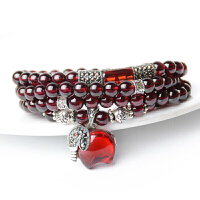 6A酒红石榴石手链女款多圈水晶手串多层直径5.5mm 手链