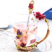 珐琅彩玻璃水杯花茶杯子果汁杯泡茶杯情侣创意实用时尚玫瑰花水晶玻璃对杯520生日送母亲节礼物送朋友礼品