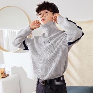 【2件3折价94.8元】唐狮冬季新款高领毛衣男韩版字母拼接撞色学生毛衫针织衫潮
