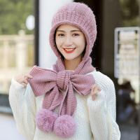帽子女秋冬季针织帽百搭甜美可爱围巾套装女生冬季保暖毛线帽