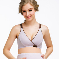 可调节孕妇文胸纯棉孕妇内衣交叉U型哺乳内衣双层里料奶罩胸罩