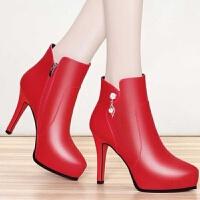 2019冬季韩版新款细跟马丁靴女水钻高跟鞋短靴加绒红色皮靴子单靴