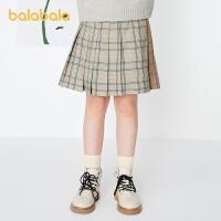 【8.4抢购价:59】巴拉巴拉女童短裙半身裙春装儿童短裙中大童格纹撞色复古