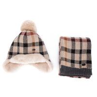 儿童秋冬款帽子男童女童格子毛线加绒帽子围巾两件套 建议 3-8岁