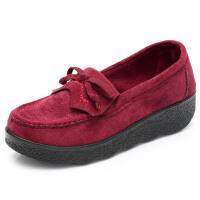 春秋老北京布鞋女鞋单鞋松糕豆豆鞋厚底坡跟蝴蝶结黑色工作鞋 红色 厚底D82