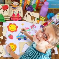画画涂鸦工具套装 宝宝儿童早教益智玩具 幼儿木制绘画涂鸦填色板 周岁生日圣诞节新年六一儿童节礼物