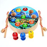 儿童钓鱼小孩子早教套装1-3-6岁宝宝小猫钓鱼木质磁性益智力玩具