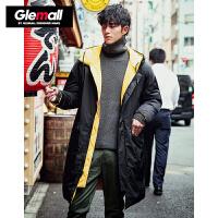 【2件2折价259.8元】森马旗下潮牌GLEMALL 中长款撞色双面穿防风衣加厚保暖情侣外套