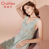 【2件3折到手价约:149】欧迪芬 2020新款女士休闲起居服睡衣薄款透气性感蕾丝睡裙XH0101