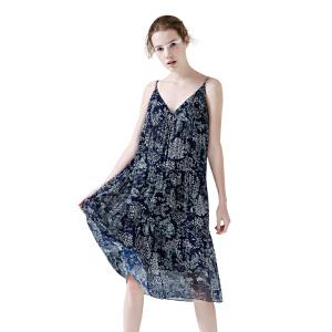 初语 2017夏季 性感吊带碎花印花V领雪纺连衣裙女潮吊带背心裙