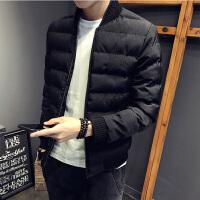 男士外套冬季2018新款个性潮男士羽绒刺绣加厚修身棉衣男冬装