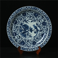 景德镇陶瓷器 高档仿古青花牡丹花鸟坐摆盘设现代中式收藏工艺品