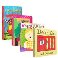 英文原版绘本4本纸板书套装Dear Zoo Where Is Baby's Belly Button I Am a Bunny Chicka Chicka Boom Boom 送音频 0-3岁幼初学