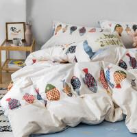 床上四件套ins北欧风简约卡通动漫色亲肤裸睡被套用品 2.0m(6.6英尺)床 床笠款