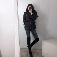 小个子百搭黑色ins小棉衣2018新款韩版潮流女冬短款夹克外套 黑色 S