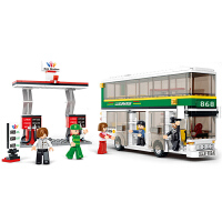 小鲁班拼装积木6岁以上男孩玩具益智拼插塑料双层巴士系列模型