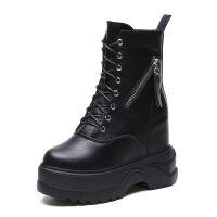 女鞋2019新款短靴女潮厚底马丁靴百搭内增高靴子12cm超高跟坡跟秋