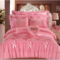 新婚庆大红色床上用品韩式蕾丝四件套结婚礼用品被罩欧式床单被套