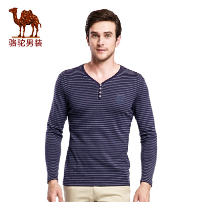骆驼男装 新款时尚V领青年绣标商务休闲条纹长袖T恤衫男