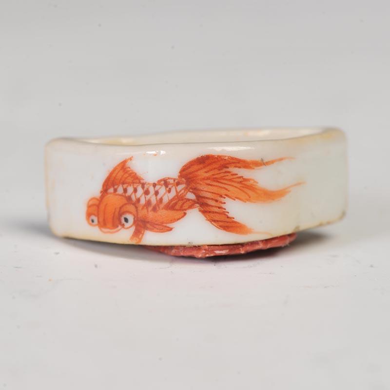 清晚期 矾红鱼纹半月形蛐蛐儿食潜