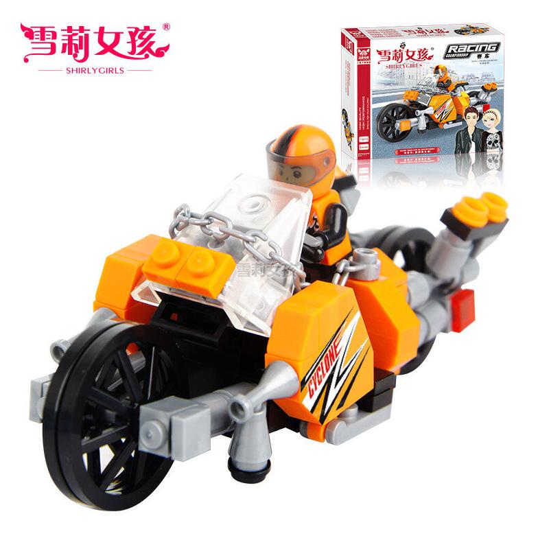 雪莉女孩益智积木玩具厂家创意热卖玩具地摊组装赛车25410