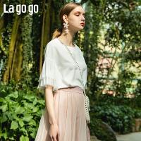 【清仓5折价89】Lagogo/拉谷谷2019夏季新款通勤网纱喇叭袖短袖上衣女IASS455A14