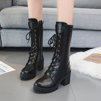 英伦风马丁靴女粗跟高跟鞋黑色帅气系带机车靴新款中筒拉链骑士靴 黑色
