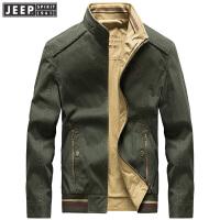吉普双面立领夹克秋冬男装新款外套纯棉纯色立领夹克青年商务休闲茄克衫