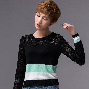 2018春新款女韩版套头修身条纹毛衣透视肩部镂空长袖针织衫打底衫