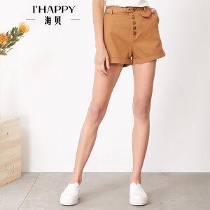 海贝夏季新款女装休闲裤 腰带收腰纽扣装饰插袋翻边纯棉短裤