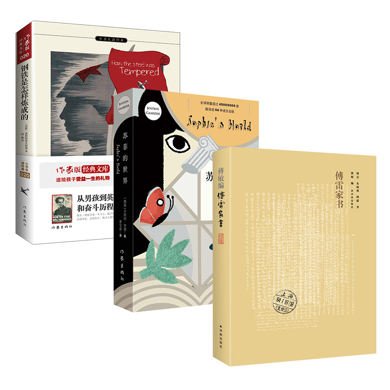 八年级下册部编教材推荐必读书目(傅雷家书+钢铁是怎样炼成的+苏菲的世界)套装共3册