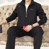 男士运动套装休闲运动服特大码宽松南韩丝中老年运动套装男爸爸装