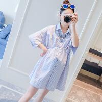 孕妇夏装上衣韩版时尚连衣裙短袖裙子2018新款宽松中长款条纹衬衫 天蓝色
