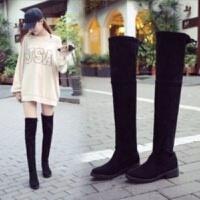 秋冬季新款小辣椒粗跟过膝长靴女士黑色粗跟女靴低跟长筒靴子