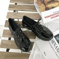 英伦风女鞋春秋季复古厚底单鞋高跟漆皮系带百搭松糕软妹小皮鞋女 黑色