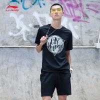 李宁短袖T恤男士吸汗舒适短装夏季圆领针织运动服AHSM111