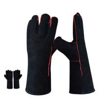 2双 电焊手套牛皮加长双层耐磨耐高温隔热防飞溅焊工手套