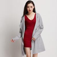 秋冬季新款宽松开衫毛衣女外套厚纯色针织衫羊毛大衣中长款