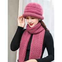 新款帽子女冬天中年女士加厚保暖兔毛针织帽优雅时尚围巾两件套装