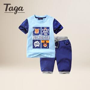 taga童装 夏季男童短袖针织套装