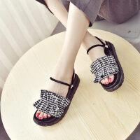 拖鞋女夏外穿新款韩版厚底松糕跟格子花边一字拖度假沙滩鞋潮