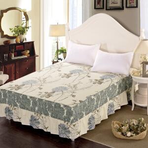 全棉床裙床罩单件纯棉简约床盖床套床笠1.8米2.0m1.5床保护套