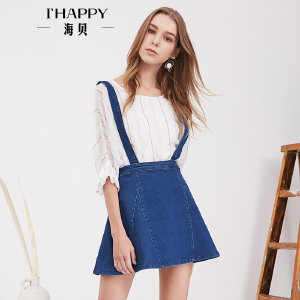 海贝夏季新款女装 甜美百搭时尚减龄A字背带裙牛仔半身裙短裙